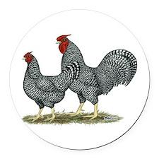 Dominique Chickens Round Car Magnet