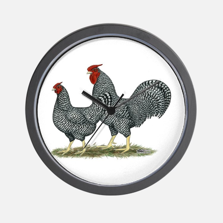 Dominique Chickens Wall Clock