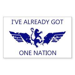WingsLand OneNationWhite Sticker (Rectangle)