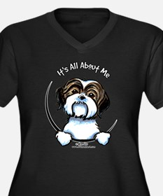 Shih Tzu IAAM Women's Plus Size V-Neck Dark T-Shir