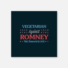 "Vegetarian Against Romney Square Sticker 3"" x 3"""