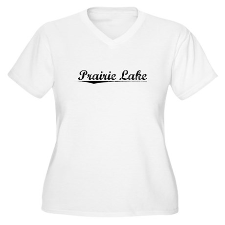 Prairie Lake, Vintage Women's Plus Size V-Neck T-S