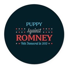 Puppy Against Romney Round Car Magnet