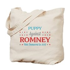Puppy Against Romney Tote Bag