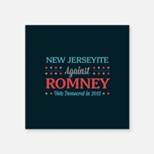 """New Jerseyite Against Romney Square Sticker 3"""" x 3"""
