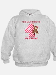 4th Birthday Monkey Girl Hoodie