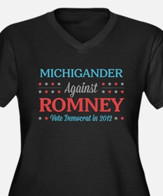 Michigander Against Romney Women's Plus Size V-Nec