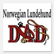 norwegian lundehund dad trans.png Square Car Magne