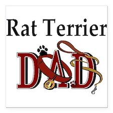 "rat terrier dad darks.png Square Car Magnet 3"" x 3"