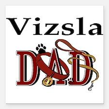 """vizsla dad darks.png Square Car Magnet 3"""" x 3"""""""