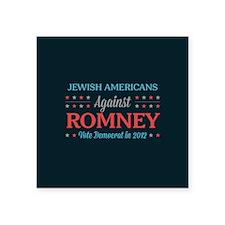 "Jewish Americans Against Romney Square Sticker 3"""