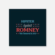 """Hipster Against Romney Square Sticker 3"""" x 3"""""""