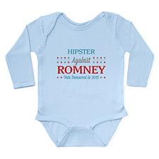 Hipster Against Romney Long Sleeve Infant Bodysuit