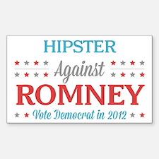Hipster Against Romney Sticker (Rectangle)