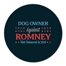 Dog Owner Against Romney Round Car Magnet