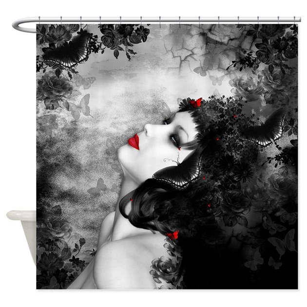 Black rose fantasy shower curtain by showercurtainshop for Fantasy shower curtains