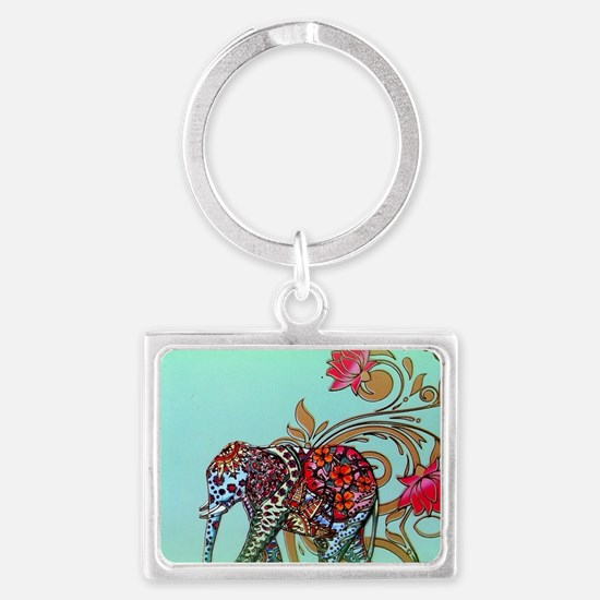 Cute Indian elephants Landscape Keychain