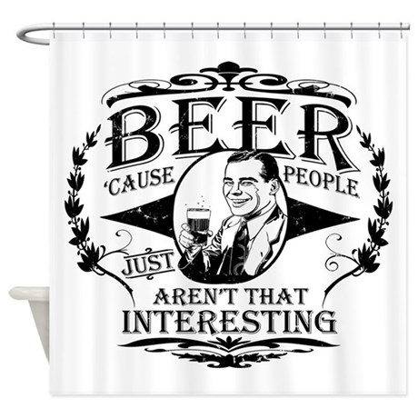 beer-white-distress.png Shower Curtain