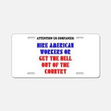 Hire American Aluminum License Plate