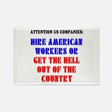 Hire American Rectangle Magnet