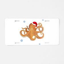 Christmas Octopus Aluminum License Plate