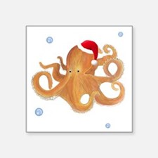 "Christmas Octopus Square Sticker 3"" x 3"""