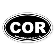Coronado Beach, CA Oval Decal