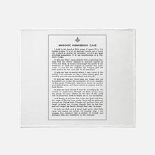 Masonic Membership Card Throw Blanket