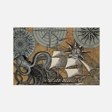 Vintage Octopus Sailing Ship Compass Rose Magnets