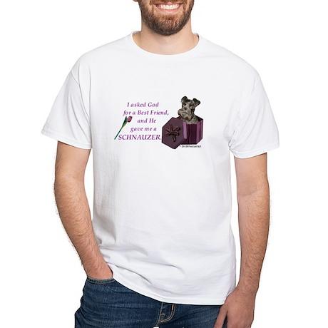 Schnauzer (Black) White T-Shirt