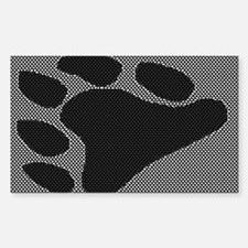 BLK BEAR PAW ON BLK/WHT Rectangle Decal