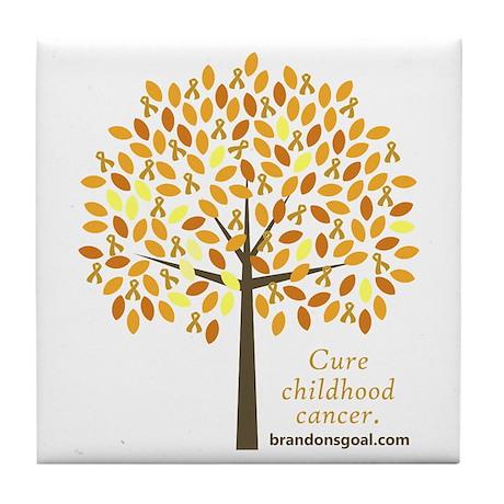 Gold Ribbon Tree Tile Coaster