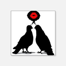 Kiss thinking Doves - Two Valentine Birds Square S