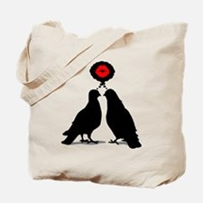 Kiss thinking Doves - Two Valentine Birds Tote Bag