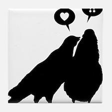 Love me Doves - Two Valentine Birds 1 Tile Coaster