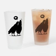 Love me now - Two Valentine Birds 2 Drinking Glass