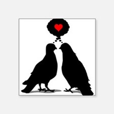 Love thinking Doves - Two Valentine Birds Square S