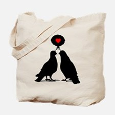 Love thinking Doves - Two Valentine Birds Tote Bag