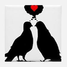 Love thinking Doves - Two Valentine Birds Tile Coa