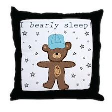 I Bearly Sleep (blue hat) Throw Pillow
