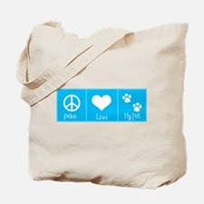 Peace, Love, My Pet-Blue Tote Bag
