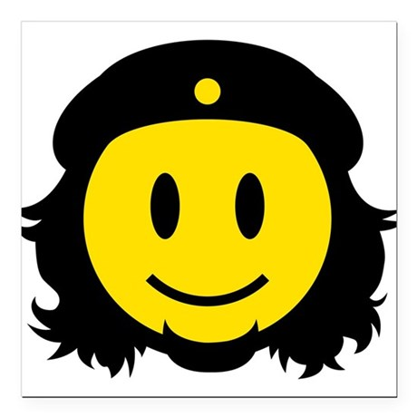 "Che Smiley Icon Square Car Magnet 3"" x 3"""