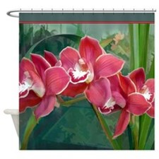 Deep Coral Cymbidium Orchids Shower Curtain