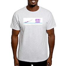 Swim Mom (girl) purple suit Ash Grey T-Shirt