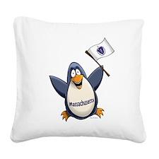 Massachusetts Penguin Square Canvas Pillow