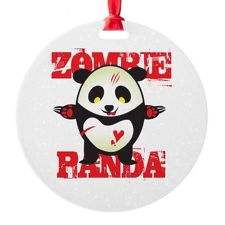 Zombie Panda Round Ornament