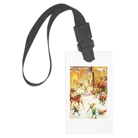 Santa's Elves in the North Pole Large Luggage Tag