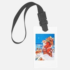 Santa Up On the Rooftop Luggage Tag