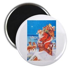 Santa Up On the Rooftop Magnet