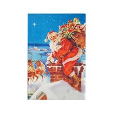 Santa Up On the Rooftop Rectangle Magnet